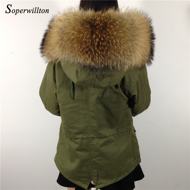 Green Parka With Real Fur Hood