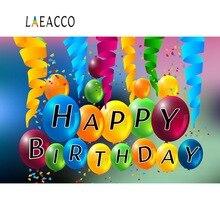 Laeacco Baby Birthday Backdrop For Photography Colorful Balloon Party Ribbon Celebration Photo Background Photocall Photo Studio birthday background birthday celebration banner photography backdrop photo studio backdrops for baby photos150x210cm thin vinyl