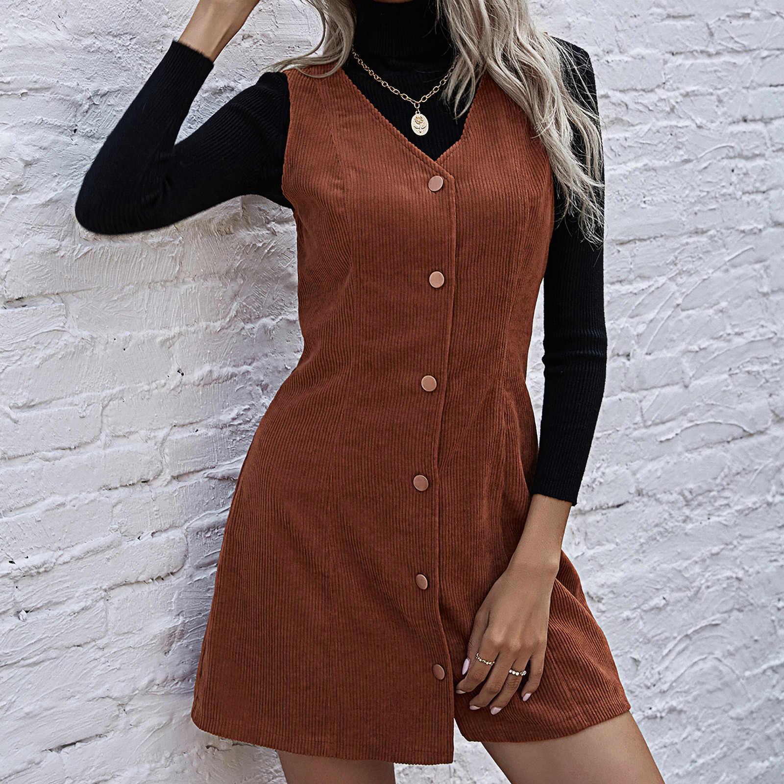 2021 Baru Solid Gaun Wanita Tank Gaun Musim Gugur dan Musim Dingin Temperamen Leher V Korduroi Gaun Tanpa Lengan Tombol Fashion Vestidos