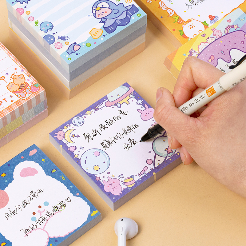Mohamm 100Pcs/lot Rainbow Notepad Cute Bear Cartoon Memo Pad School Supplies Paper Stationary Office Decoration Accessories