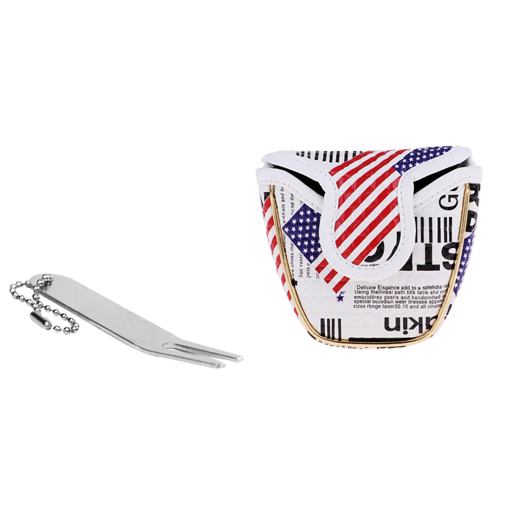 PU Golf Mallet Head Cover The Stars And The Stripes Club Covers & Divot Tool