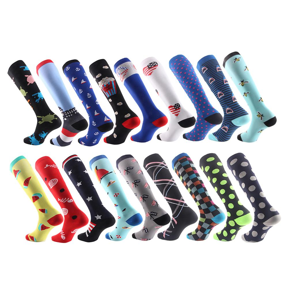 Compression Men Women Sports Socks Nylon Unisex Outdoor Running Racing Cycling Happy Socks Long Pressure Stockings Socks Ladies