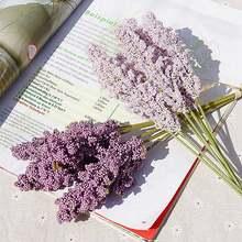 6 pièces mousse lavande artificielle fleur plante décoration murale de haute qualité Faux fleur Faux salon bricolage fournitures de fête de mariage