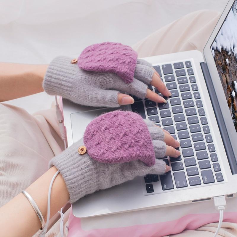 USB Heated Gloves for Women Men Mitten Winter Warm Laptop Gloves Full And Halfs Hands Heated Fingerless Heating Knitting AC889