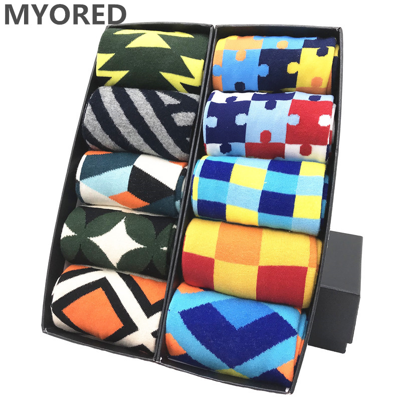 MYORED Drop Shipping Colorful Fashion Mens Socks Combed Cotton Funny Crew Socks For Men Calcetines De Hombre