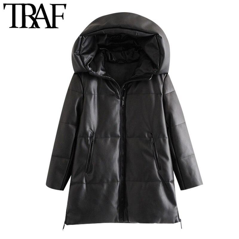 TRAF Женская модная Толстая теплая зимняя парка из искусственной кожи, винтажное пальто с капюшоном и длинным рукавом, женская верхняя одежда...