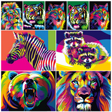 Frameless colorful lion animal abstract painting DIY digital modern wall art picture for home artwork