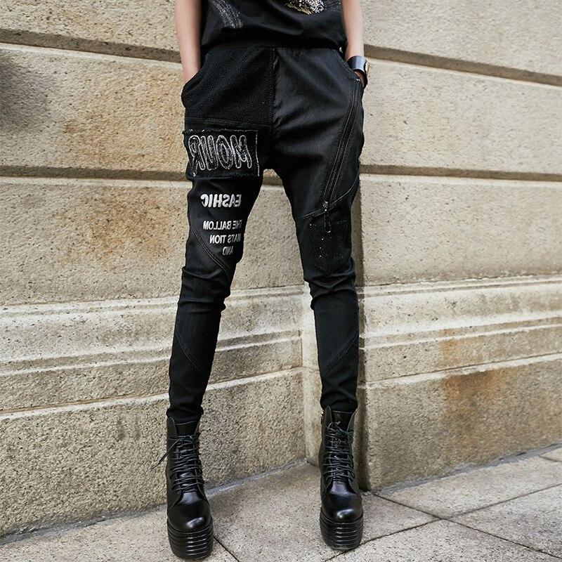 Women PENCIL   Pants     Capri   Embroidery Design Gothic Punk Zipper Designer Denim Trousers Jeans Slim Vintage Streetwear Hip Hop Chic