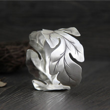 Silver 925 Jewelry Thailand Handmade Wide-brimmed Big Tree Leaves Sterling Silver Bracelet Vintage Art Bracelet For Women Party
