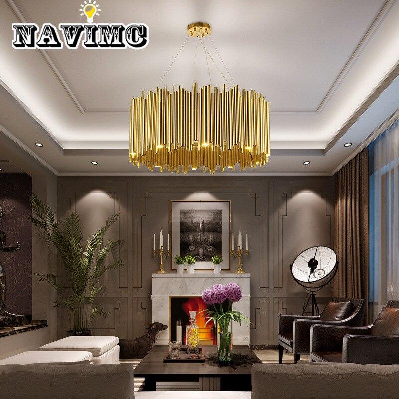 Lustre de conception créative ronde ovale de Tube en métal italien pour l'éclairage décoratif de cuisine de Restaurant