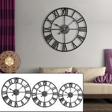 40/47/60/80cm moderno 3d grande retro preto ferro redondo arte oco relógio de parede metal nordic numerais romanos relógio decoração para casa
