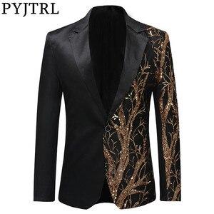 Image 1 - PYJTRL Tide Mens Gold Sequins Slim Fit Black Balzer Hip Hop Stage Singers Prom Dress Suit Jacket Party Jacket Men