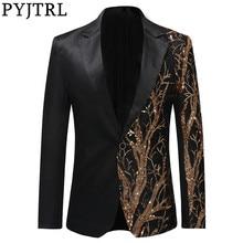 Pyjtrl jaqueta de baile para homens, jaqueta masculina preta com lantejoulas douradas slim fit, estilo hip hop, palco