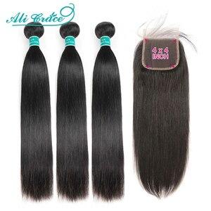 Image 1 - עלי גרייס שיער ברזילאי ישר שיער 4x4 סגר עם חבילות שיער טבעי 100% רמי ישר חבילות עם סגירת אמצע חלק