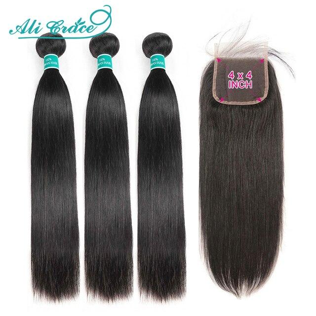 עלי גרייס שיער ברזילאי ישר שיער 4x4 סגר עם חבילות שיער טבעי 100% רמי ישר חבילות עם סגירת אמצע חלק