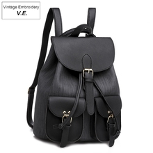 Fashion Womens backpack Preppy Style School Backpack For Teens Girls PU Leather Drawstring Backpack Casual Mochila Bags casual vintage canvas backpack for women unique drawstring flap bags preppy style rucksacks for girls black button school bags