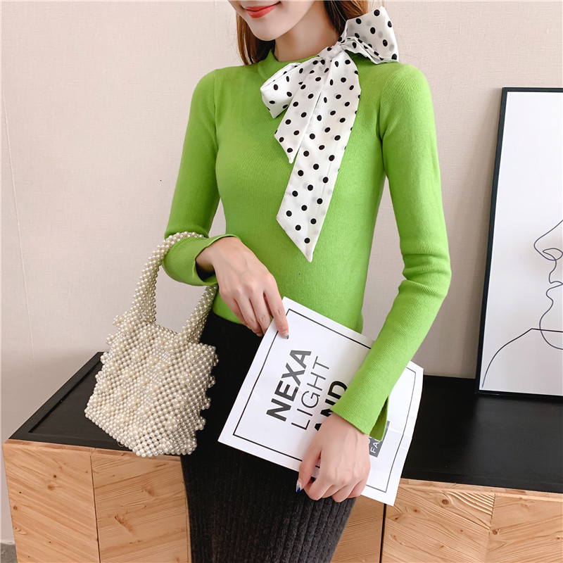 Women Knit Sweater Pullover Autumn Winter Clothes New Leopard Bow Tie Slim Pull Knitwear Sweater Jumper Long Sleeve Female Tops 3