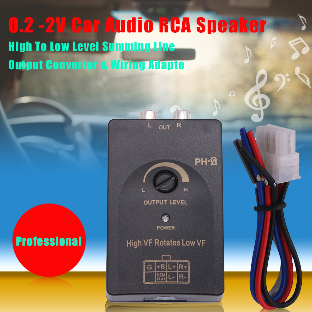 Professional 0.2 -2V Car Audio RCA <font><b>Speaker</b></font> High to Low Level Summing Line Output Converter & Wiring Adapter CSV image
