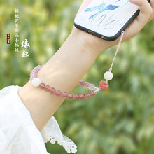 Neue kurze handy kette Erdbeere kristall handy lanyard Bodhi abnehmbaren telefon fall anhänger handgelenk gurt