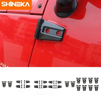 SHINEKA ABS Interior Carbon Fiber Hood Door Hinge Decoration Cover Trim Frame Sticker For Jeep Wrangler JK 2007-2017 Car Styling shineka car sticker for jeep wrangler jl accessories rearview mirror carbon fiber chrome decoration sticker for wrangler 2018