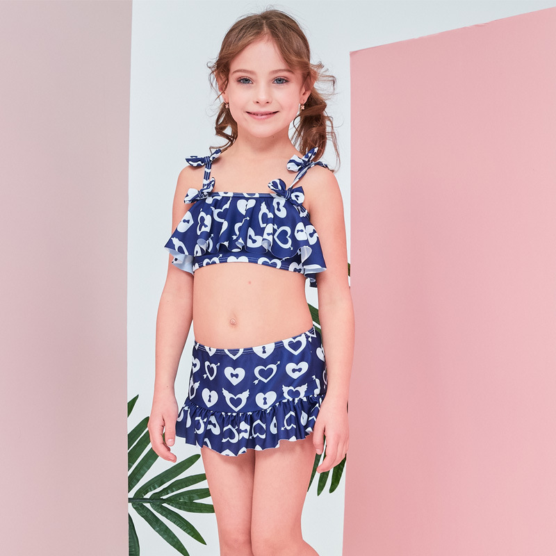 2019 New Style Hot Sales Split Type Bikini Three-piece Set Bathing Suit Bow Sweet Little Princess Girls KID'S Swimwear