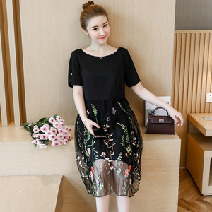 Image 4 - L 5XL Large Size Women Summer New elegant Knee Length Mesh Embroidered Fairy Korean Age Reduced Slim Plus Size Cocktail Dresses
