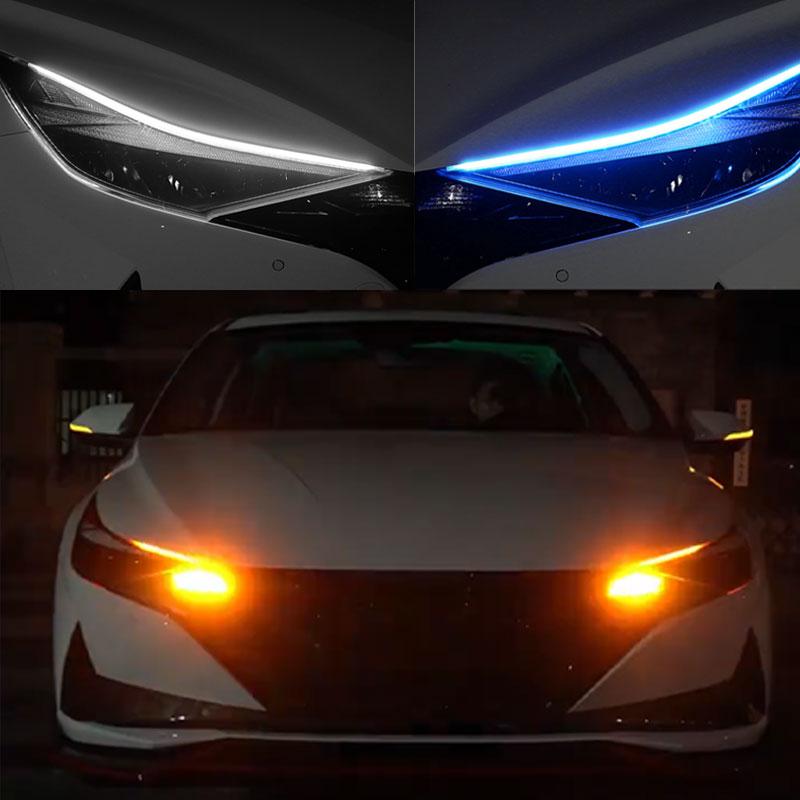 12V Car Led Light Strip DRL Daytime Running Lamp Strips Flexible LED Auto Headlight Surface Decorative Lamp Turn Signal Lights 6