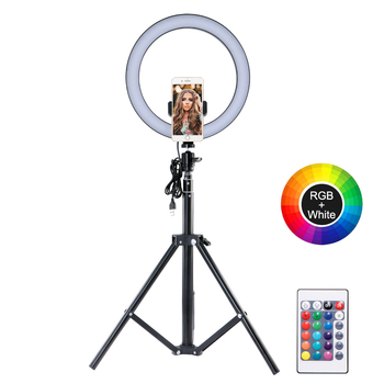 Photography LED Ring Fill Light Dimmable Camera Phone Ring Lamp With Table Telescopic Tripods For Video Live Studio lights