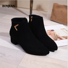 BONJEAN Women Boots Casual Leather Low High Heels Spring Shoes Woman Pointed Toe Rubber Ankle Boots Black Red Zapatos Mujer(China)