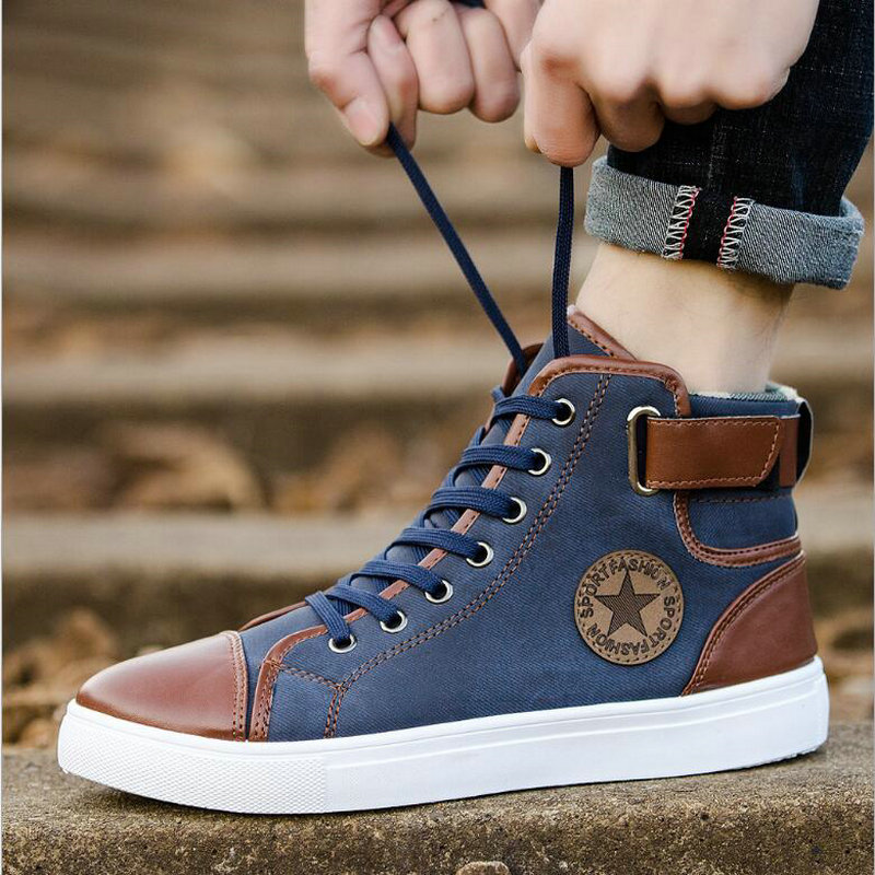 High Tops 2019 Brand Antumn Boys / Male Walking Sport Outdoor Canvas Shoes  Mens Sneakers Skateboarding Athletic  Flats HD-84