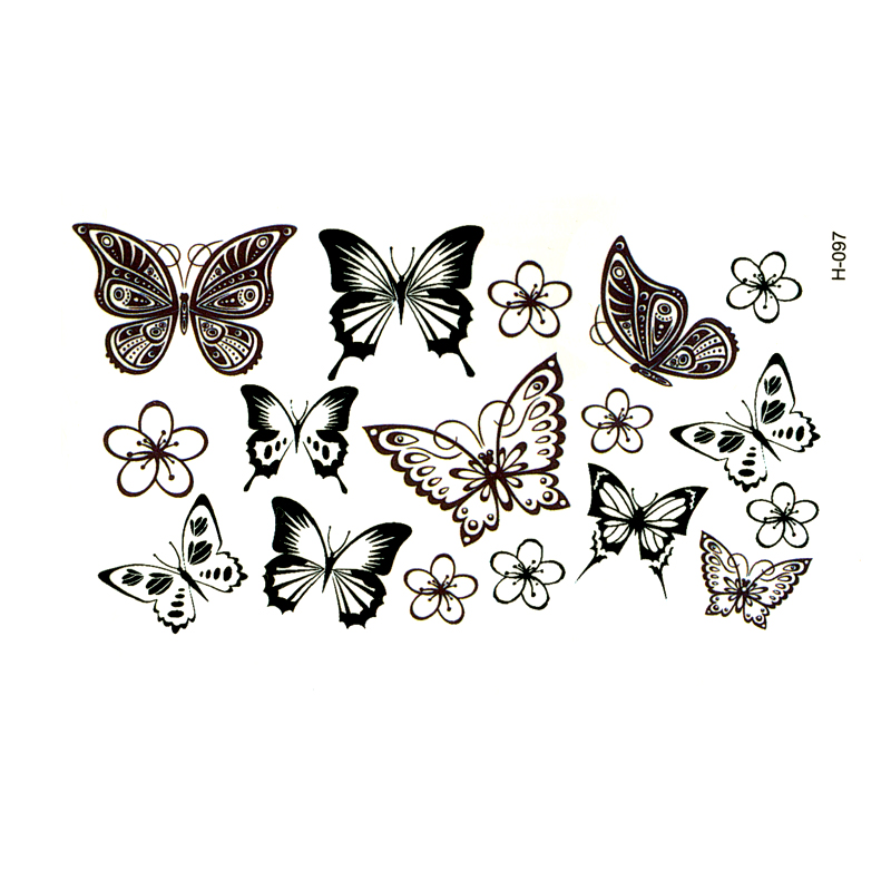 Black Butterfly Tatoo Temporary Tattoo Sticker Tatuajes Temporales Waterproof Temporary Tattoos  Arm Tattoo Fake Tattoo Sleeves