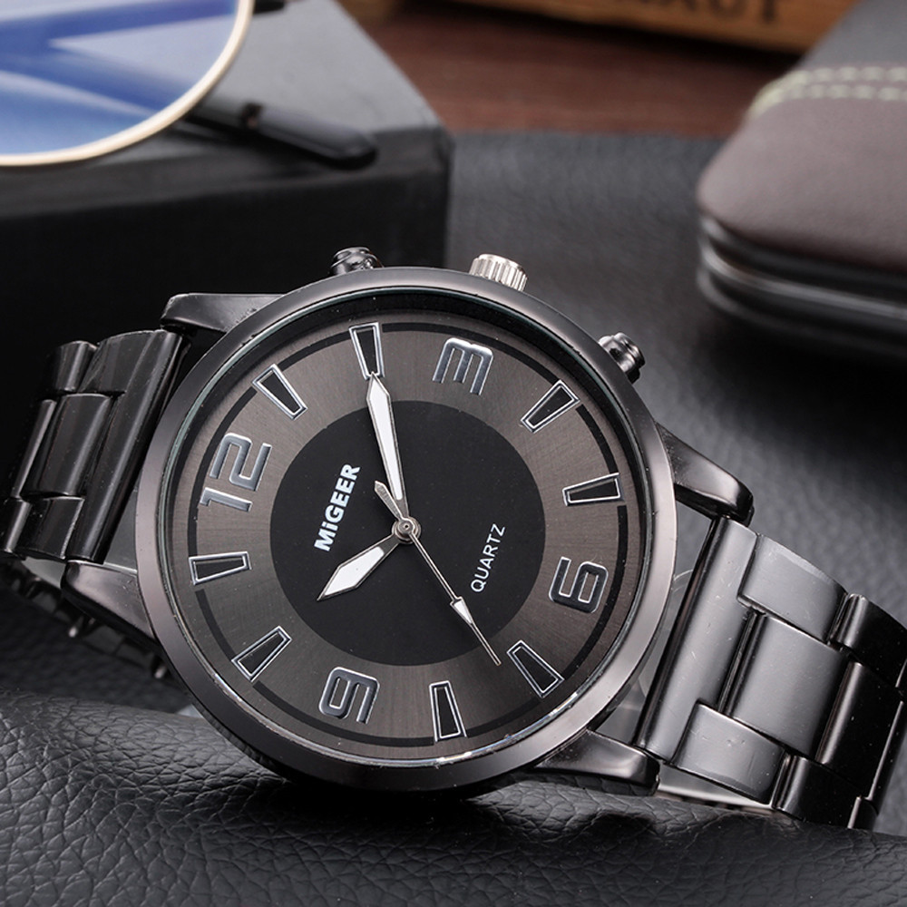 MIGEER Men Watches Luxury Fashion Men Design Stainless Steel Analog Alloy Quartz Wrist Watch Silver Clock Relogio Masculino