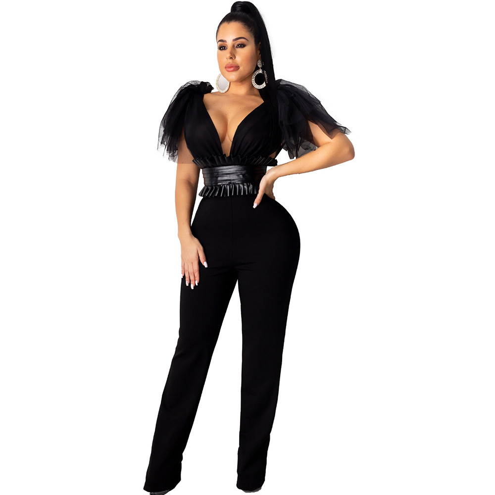 Sexy Deep V Neck Party Evening Elegant Jumpsuit For Women Sheer Mesh Bow High Waist Night Club Rompers Womens Jumpsuit Overalls