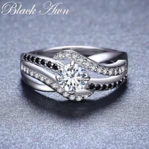 Image 2 - Bijou fin en argent Sterling 2020, auvent noir, tendance, Bague de fiançailles, anneaux de mariage pour femmes, nouvelle collection 925, C047
