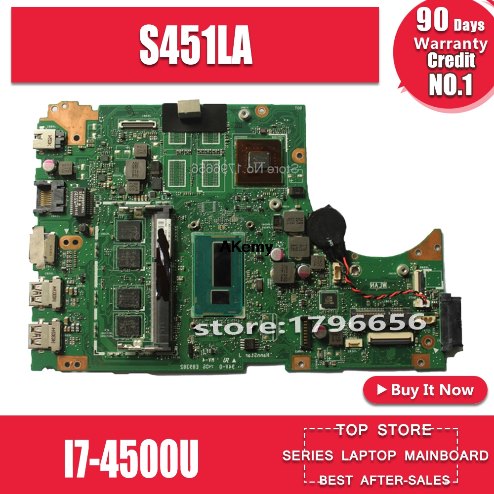 For ASUS S451lA S451lb S451l Laptop Motherboard S451lA Mainboard I7-4500u Non-Integrated 100% Tested