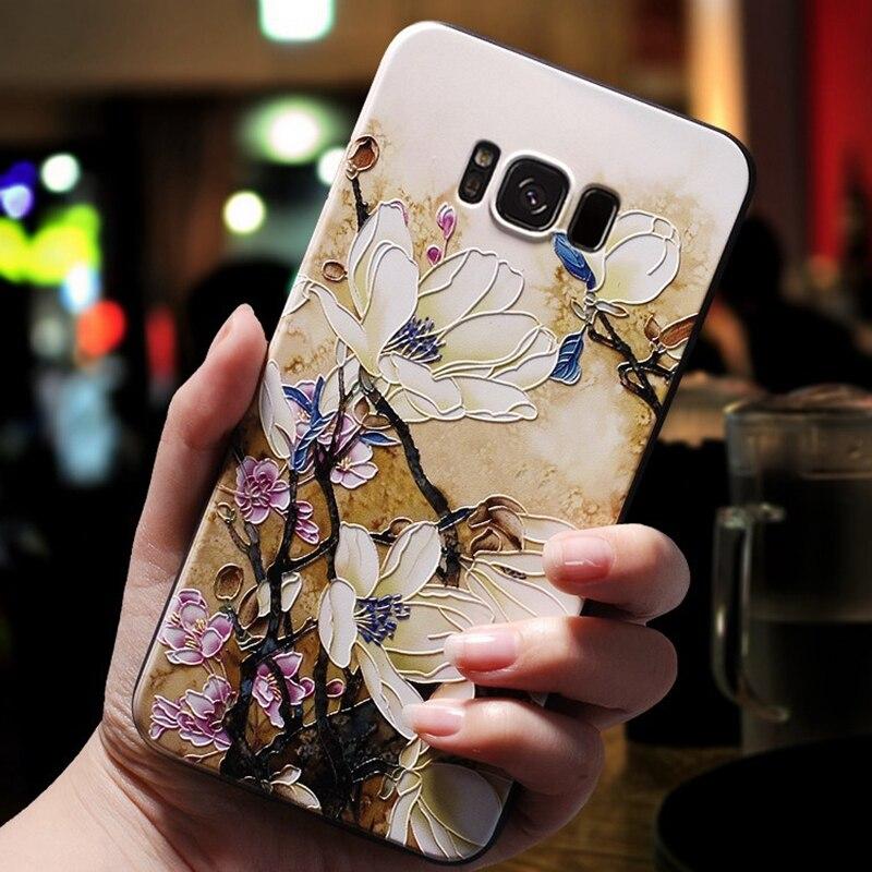 3D Flower Emboss Case For Samsung Galaxy A50 A20 A30 A40 A60 A70 A80 S8 S9 S10 Plus S10E Note 10 Pro A7 A8 A9 2018 Cover