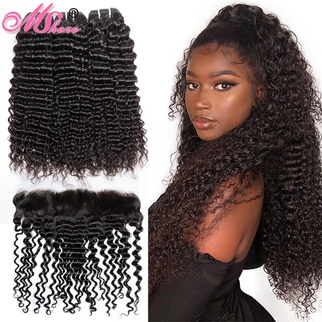 MsHere שיער 3 חבילות עם 13x4 תחרה פרונטאלית סגירה פרואני עמוק מתולתל גל צרור עם פרונטאלית ללא רמי שיער טבעי הרחבות