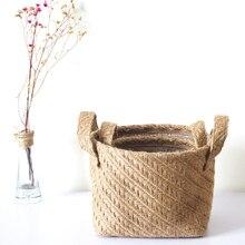 ZAKKA Woven Jute Flower Pot Fabric Storage Basket Desktop Storage Basket подушка декоративная zakka zakka mp002xu02uh4