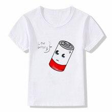 цена на Kids Cartoon battery  Print T Shirt Design Summer Tops Boys and Girls Casual Streetwear T-shirt