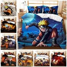 Naruto menino menina 3d dos desenhos animados impressão digital 2/3pc colcha capa fronha conjunto de cama dupla folha colcha cama dos namorados