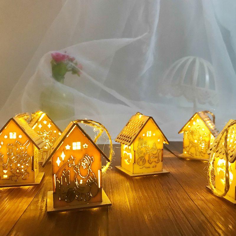 Светодиодный деревянный дом, украшение для семейного сада, рождественской вечеринки, свадьбы, праздника, вечеринки, елки - 3