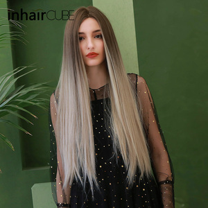 Image 4 - Inhaircube Middle Part Synthetic Wigs For Women Dark Brown Root Long Straight Heat Resistant Cosplay Daily Wig Adjustable Straps