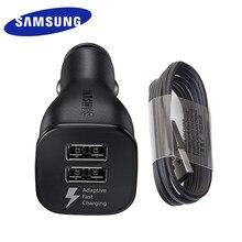Carregador usb rápido e duplo para samsung, adaptador para carro, micro usb tipo c e cabo para galaxy s10 s9 s8 plus s10 + note 10 plus note10 s20