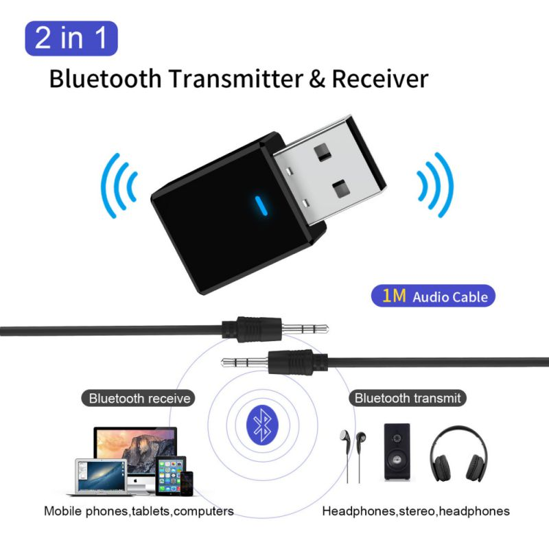 2-in-1 Music Audio Transceiver Bluetooth 5.0 Portable USB Adapter Receiver Bluetooth Transmitter image