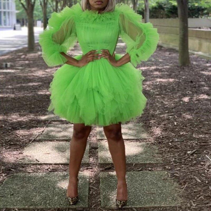 Robe de fête verte 34 manches sur mesure vestido de curto robe de bal genou longueur bouffante pure pli robe de bal Tulle