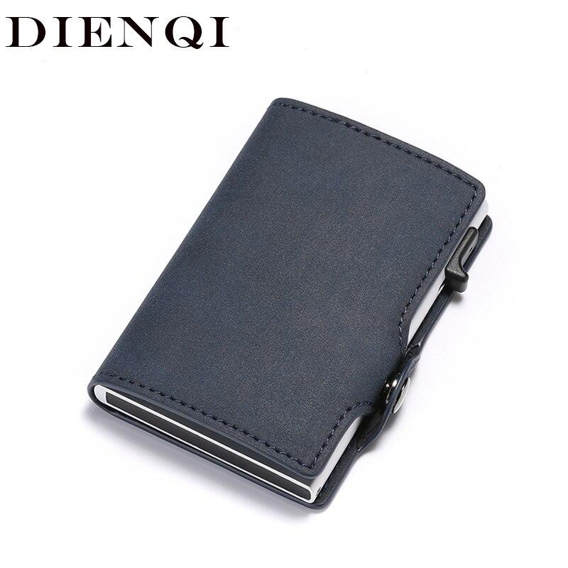 DIENQI Anti Rfid Credit Card Holder Case Men Slide Leather Id Card Holder Bank Aluminium Metal Wallet Creditcard Bag Popwallet