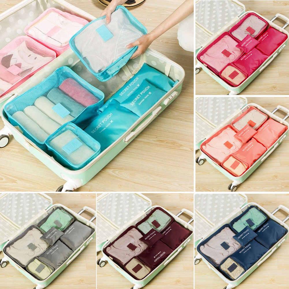 2020 Hot sprzedaży 6 sztuk podróżne siatki na odzież wodoodporne torby przenośny organizer bagażu worek opakowanie Cube 8 kolory lokalne zdjęcie