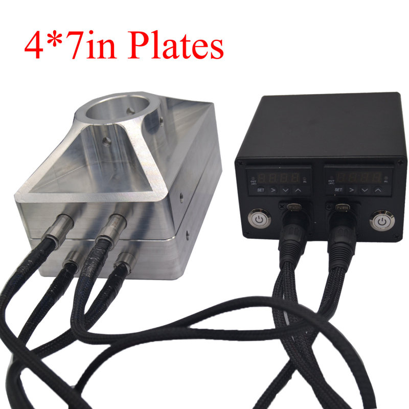4x7 inch Rosin Press Heat Aluminum Dual Plates with 4 Heating Probes PID Temperature Control Box for Dab Concentrate Oil Machine