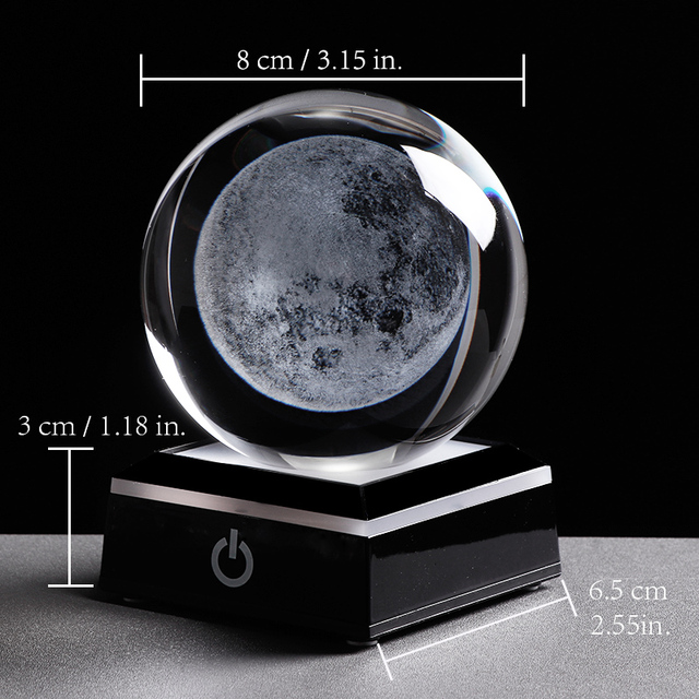 3D Moon Crystal Ball LED Base Laser Engraved Glass Globe Home Decoration Crystal Craft Sphere Ornament 8cm 4