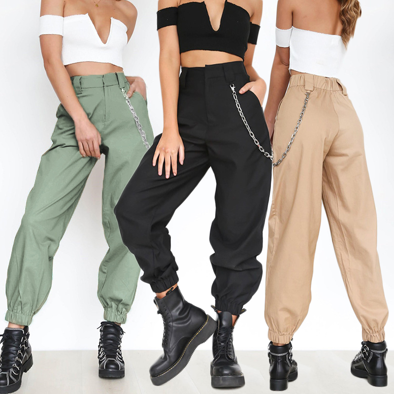 Ladies High Waist Side Pockets Pants With Chain Cool Cargo Pants Casual Streetwear Fashion Loose Women Female Punk Black Pants